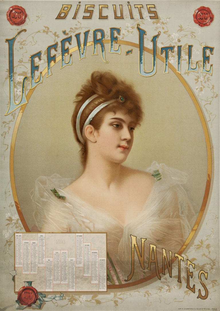 Série annuelle, La liseuse distraite Affiche calendrier, 1893 chromolithographie sur carton