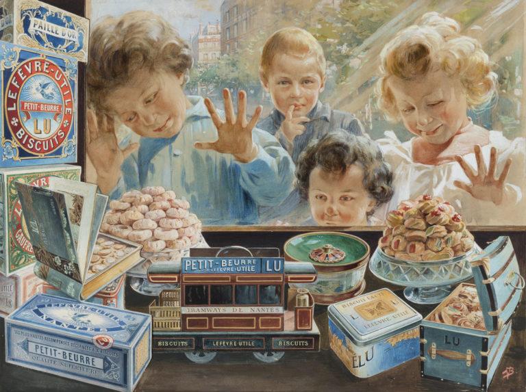 Les enfants à la vitrine Vincente Bocchino, vers 1904 Gouache et encre sur carton