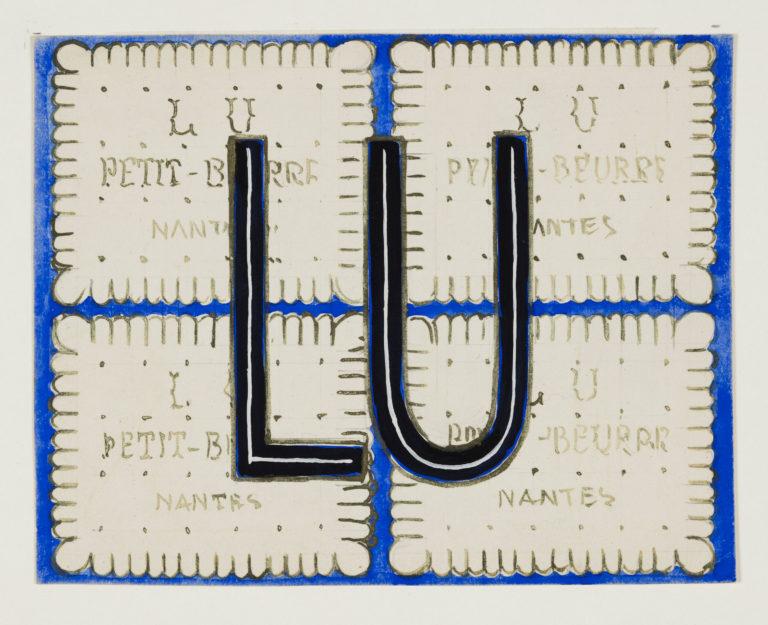 Logo LU des années 1930 Gouache sur carton