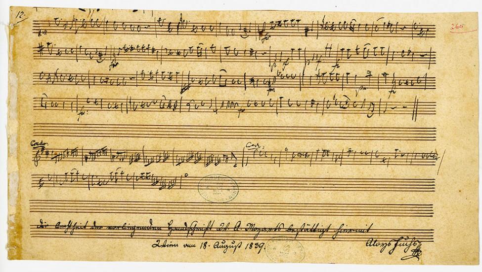 Partition présentée dans l'exposition Mozart au Château