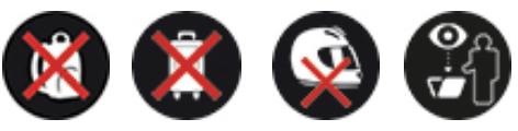 Sacs, valises et casques interdits. Fouille possible
